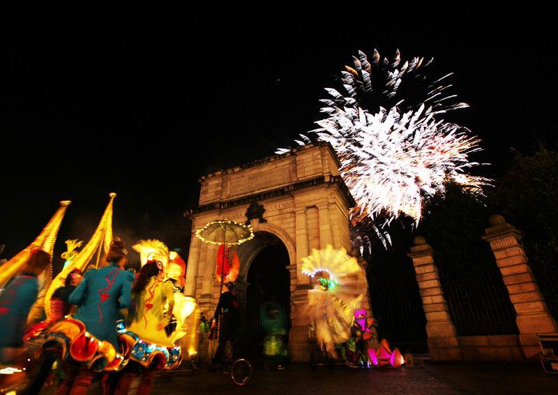 NYE Dublin Fireworks at St. Stephens Green, Dublin